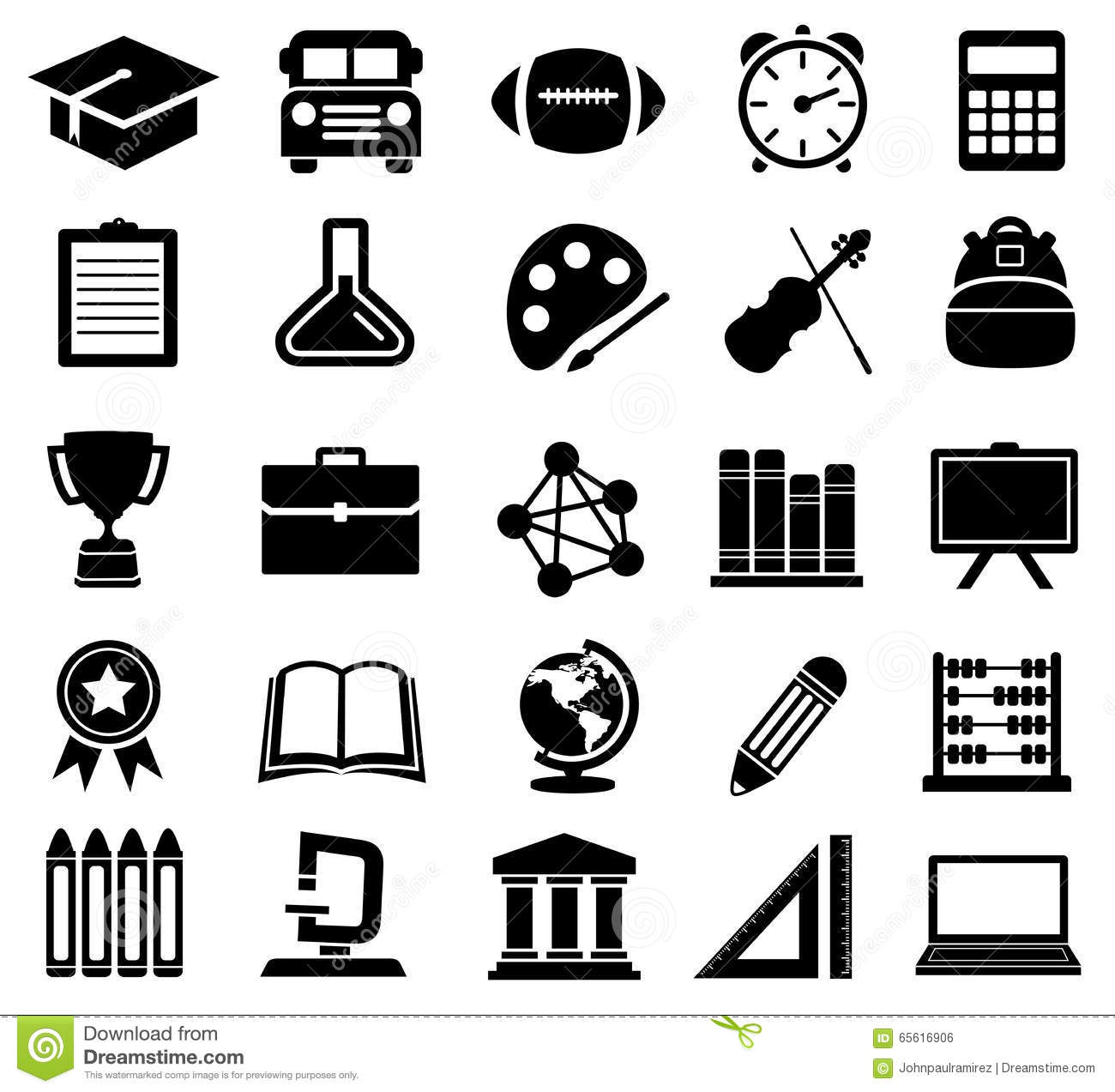 Education School Icons Silhouettes Stock Vector