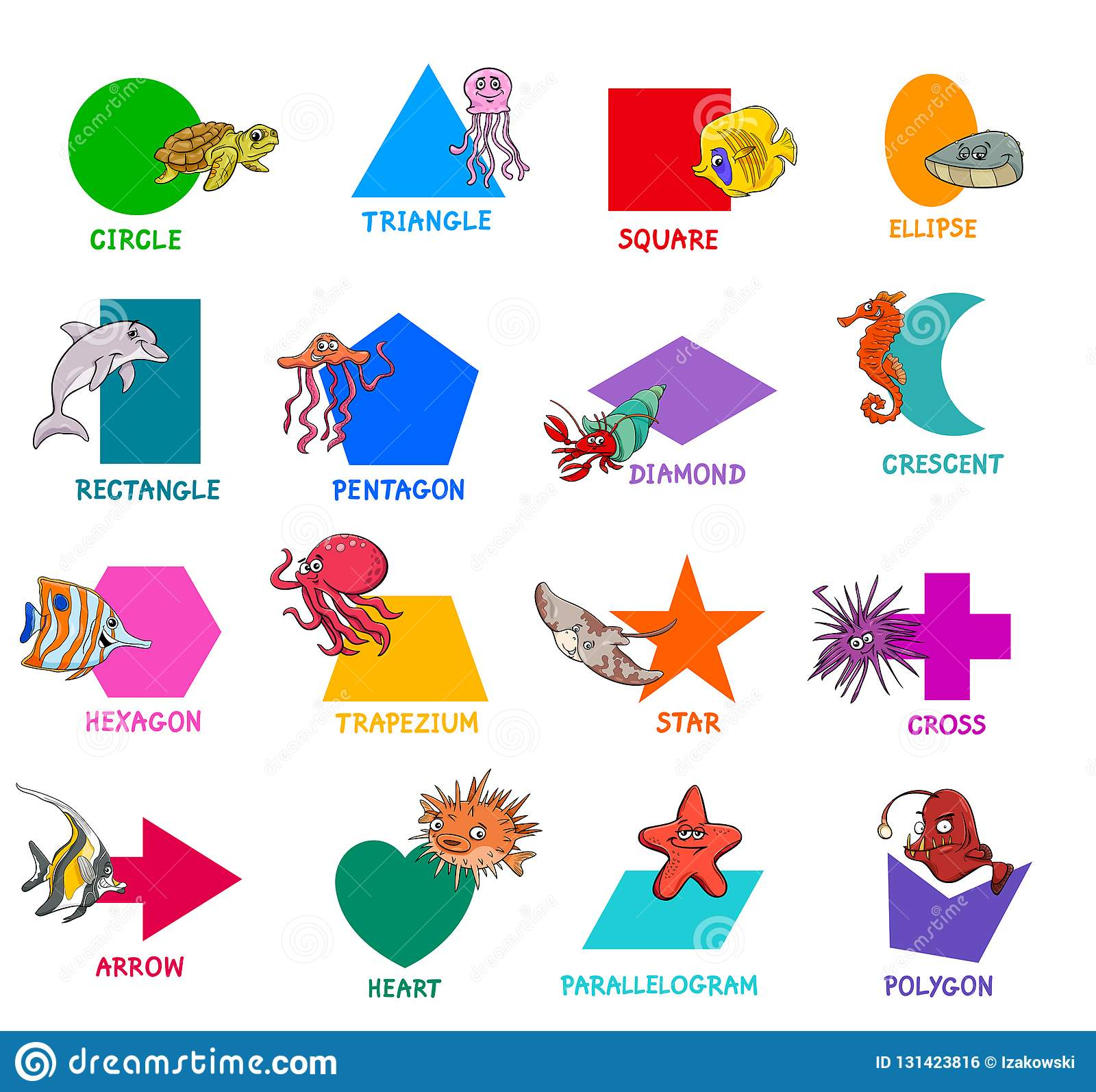Geometric Shapes With Sea Animal Characters Set Stock