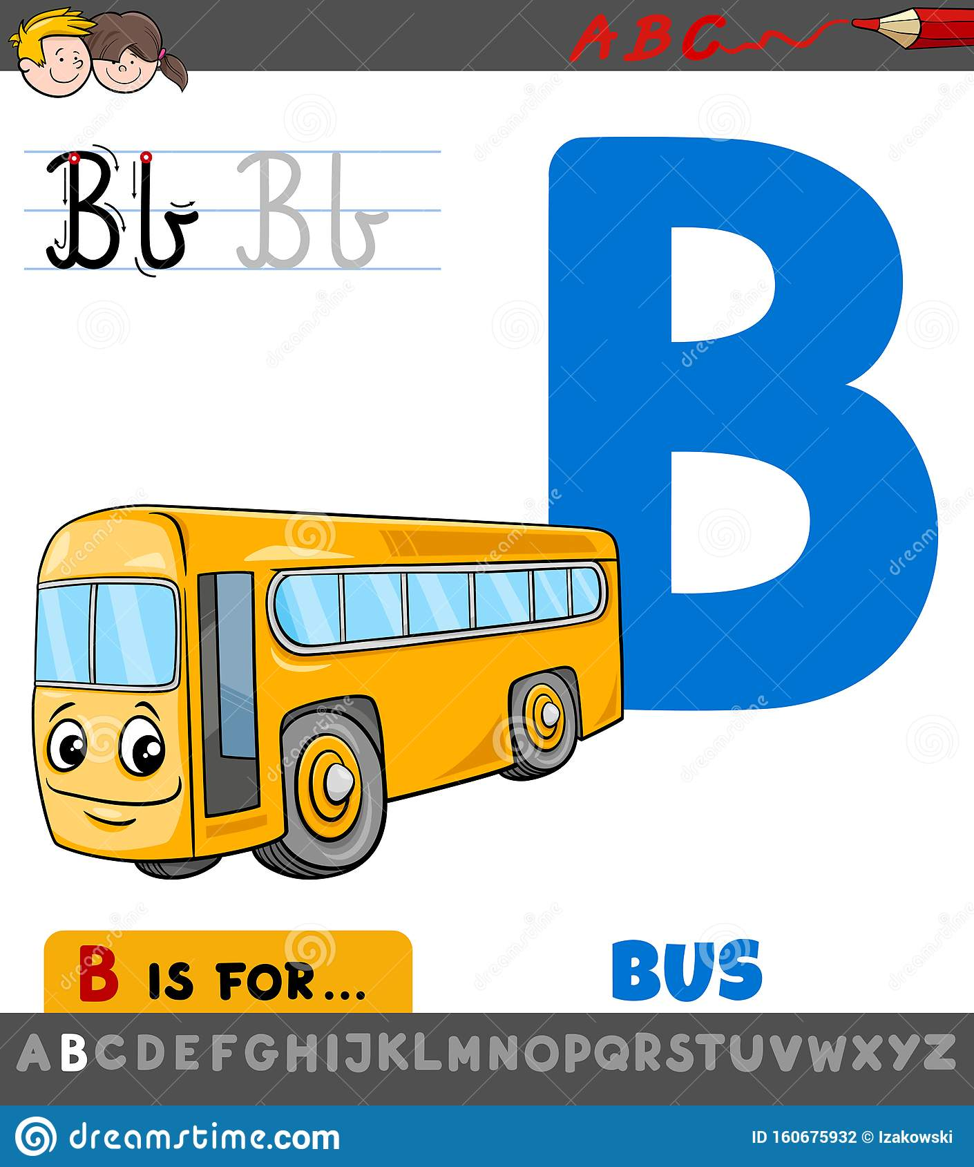 Letter B Worksheet With Cartoon Bus Stock Vector