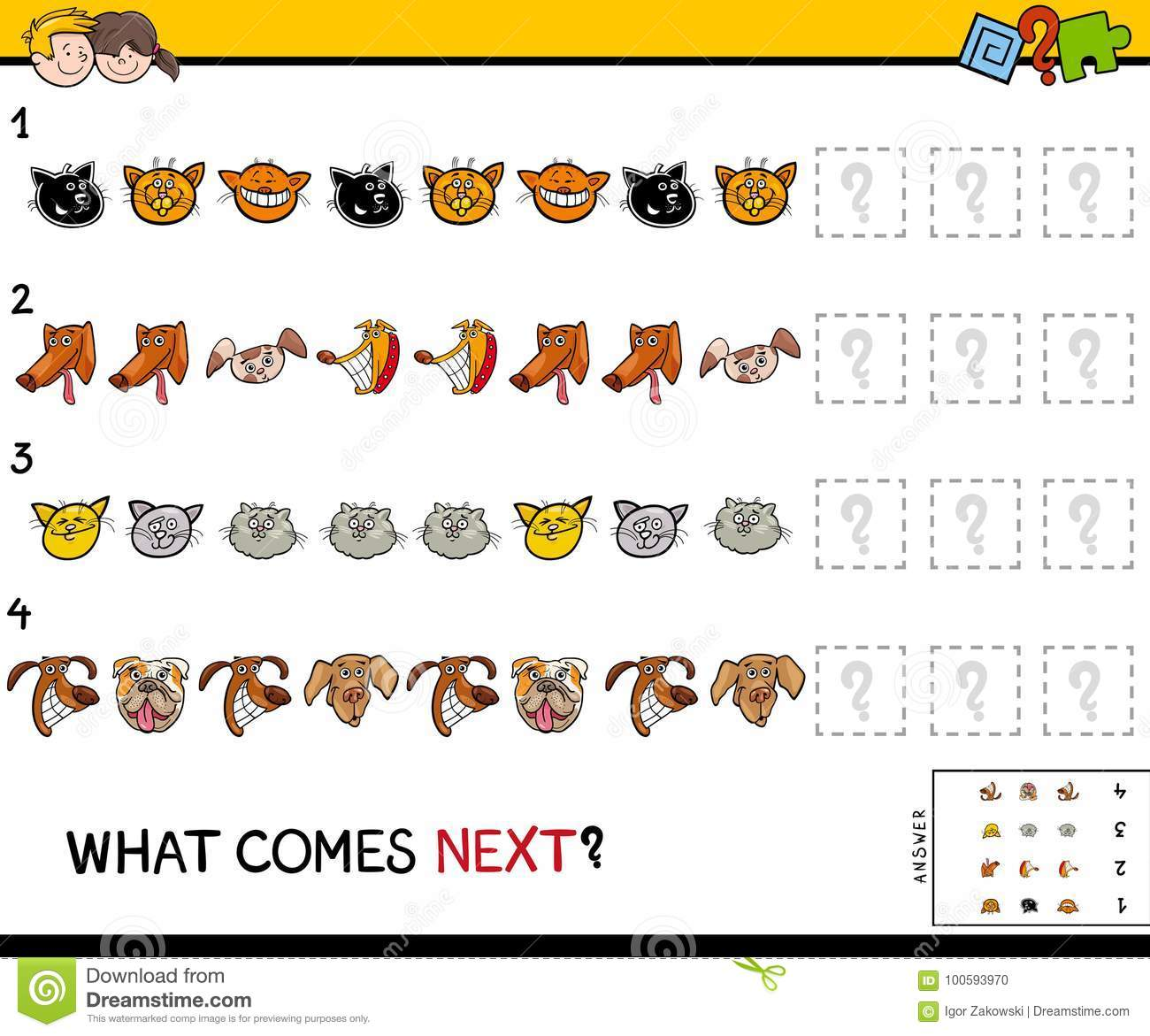 Educational Finish The Pattern Game With Pets Stock Vector
