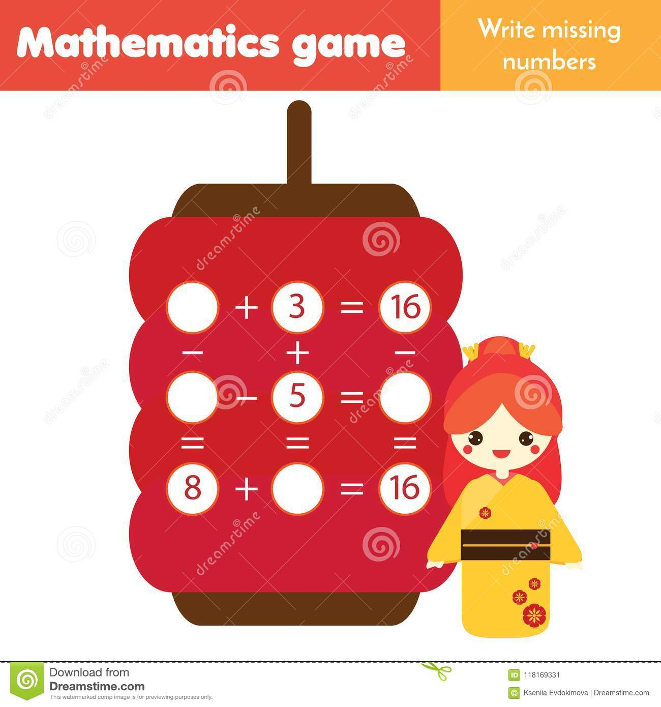Educational Game For Children Counting Equations Study Subtraction And Addition Mathematics