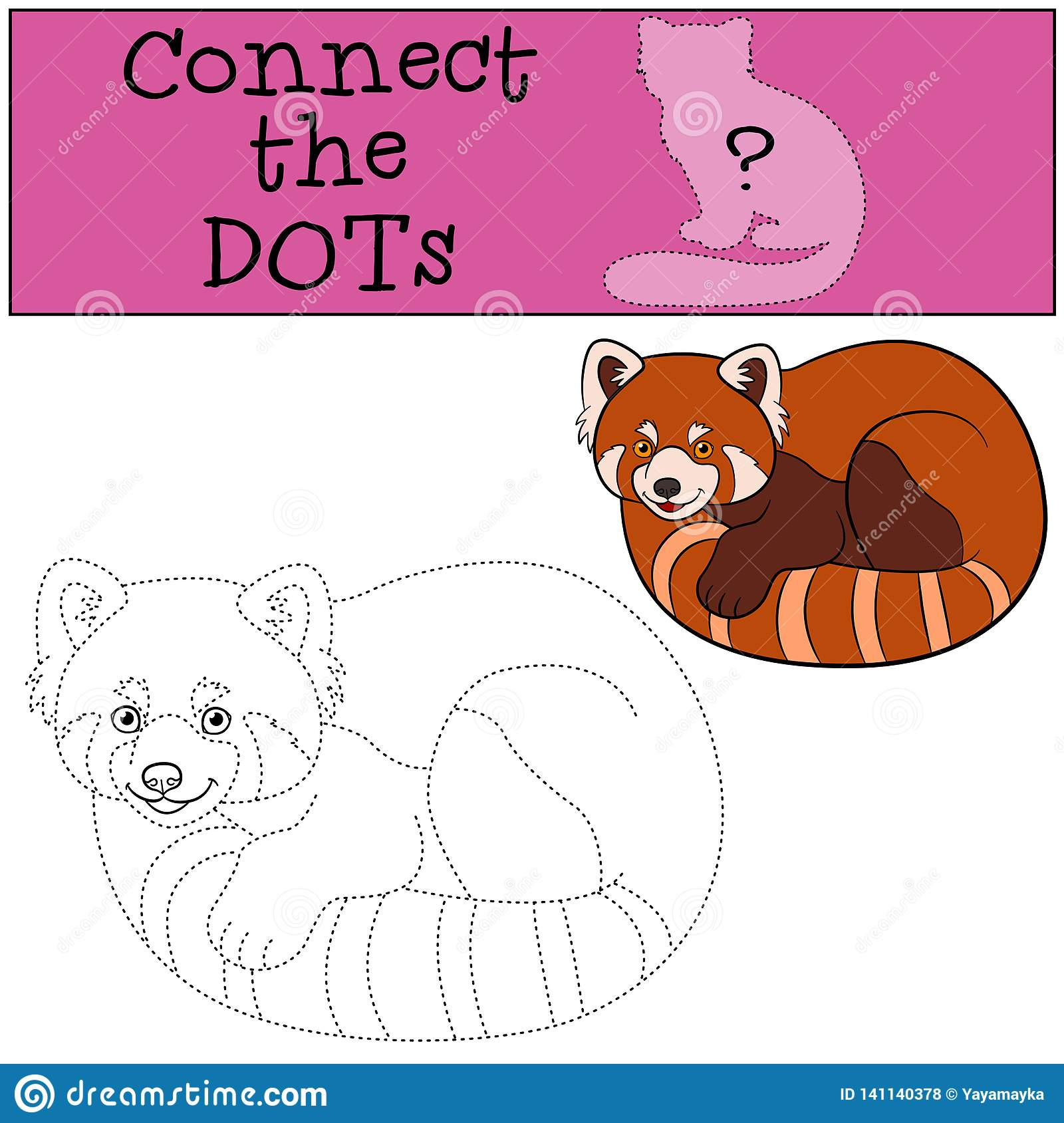 Educational Game Connect The Dots Little Cute Red Panda