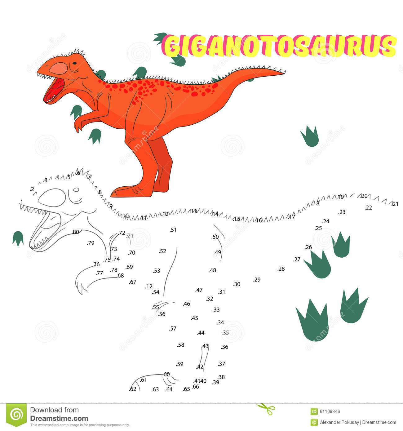 Educational Game Connect Dots To Draw Dinosaur Stock