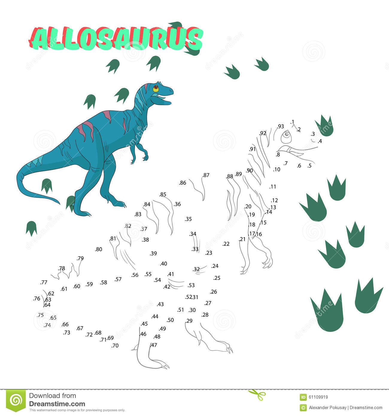 Educational Game Connect The Dots To Draw Dinosaur Stock