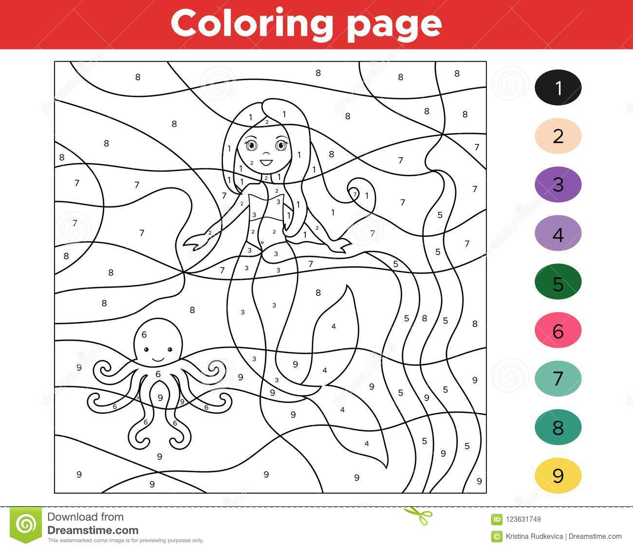 Educational Game For Kids Color By Numbers Stock Vector