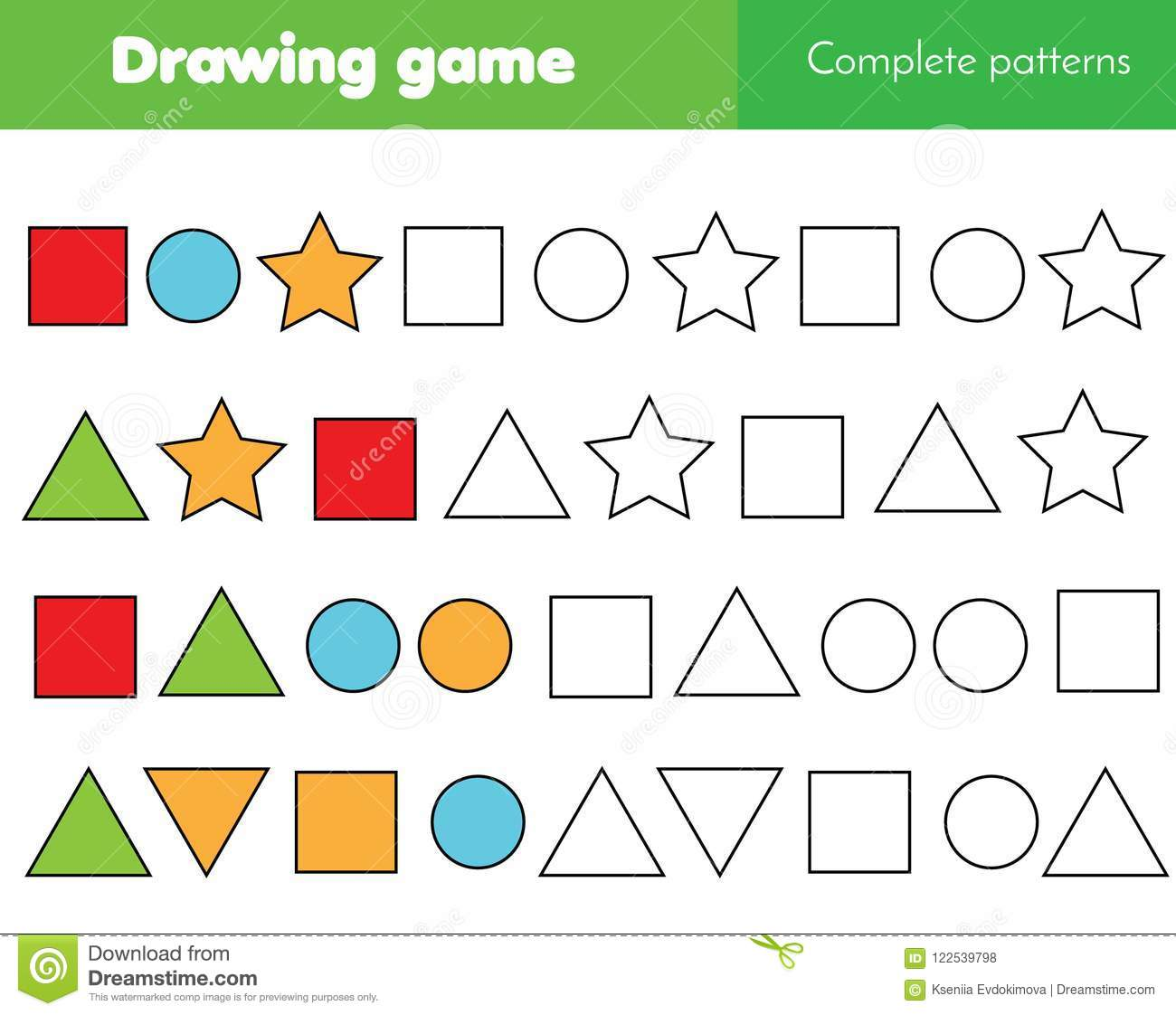 Educational Game For Kids Complete Pattern And Continue