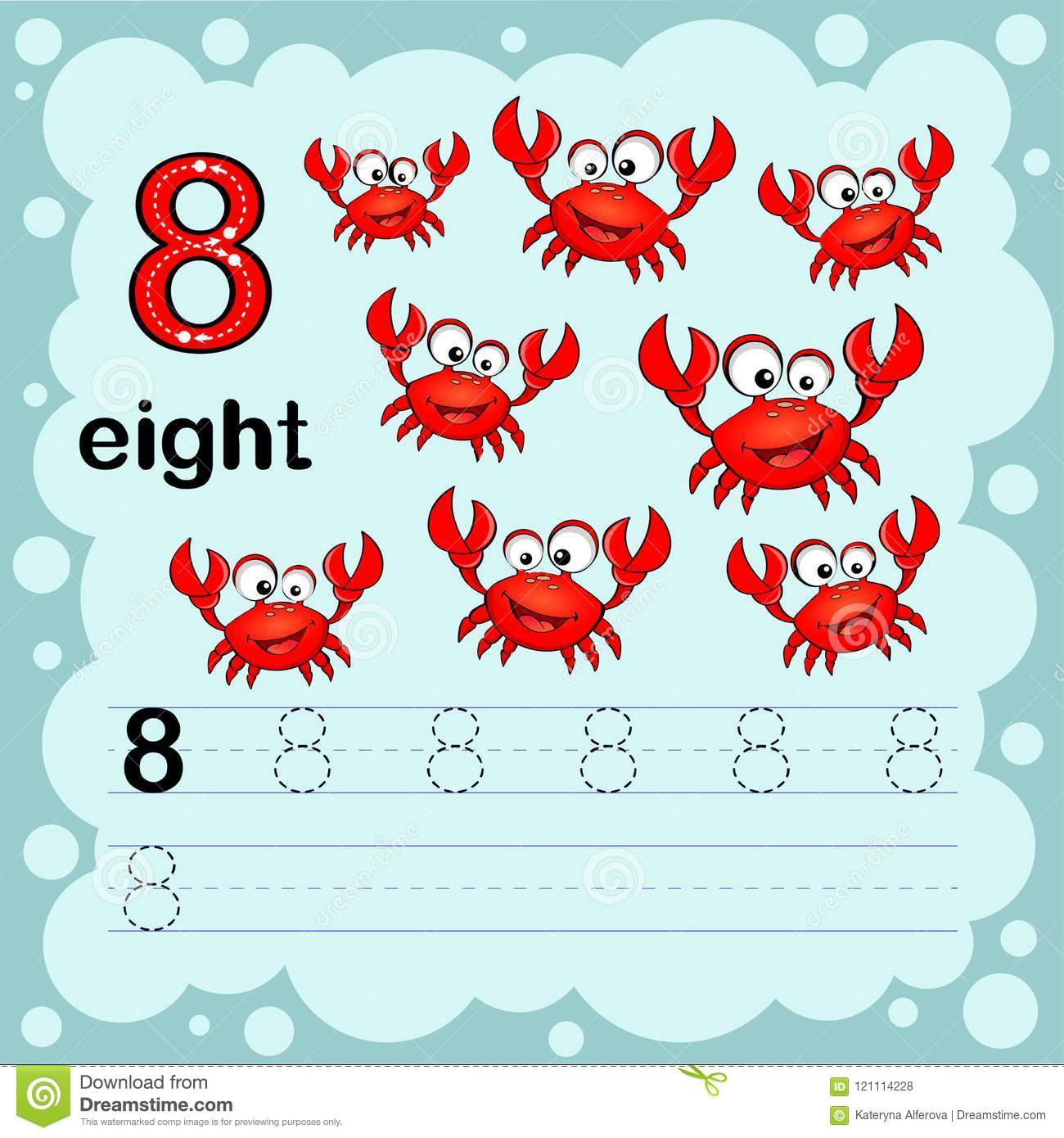 Educational Illustration To Learn How To Count And Write A