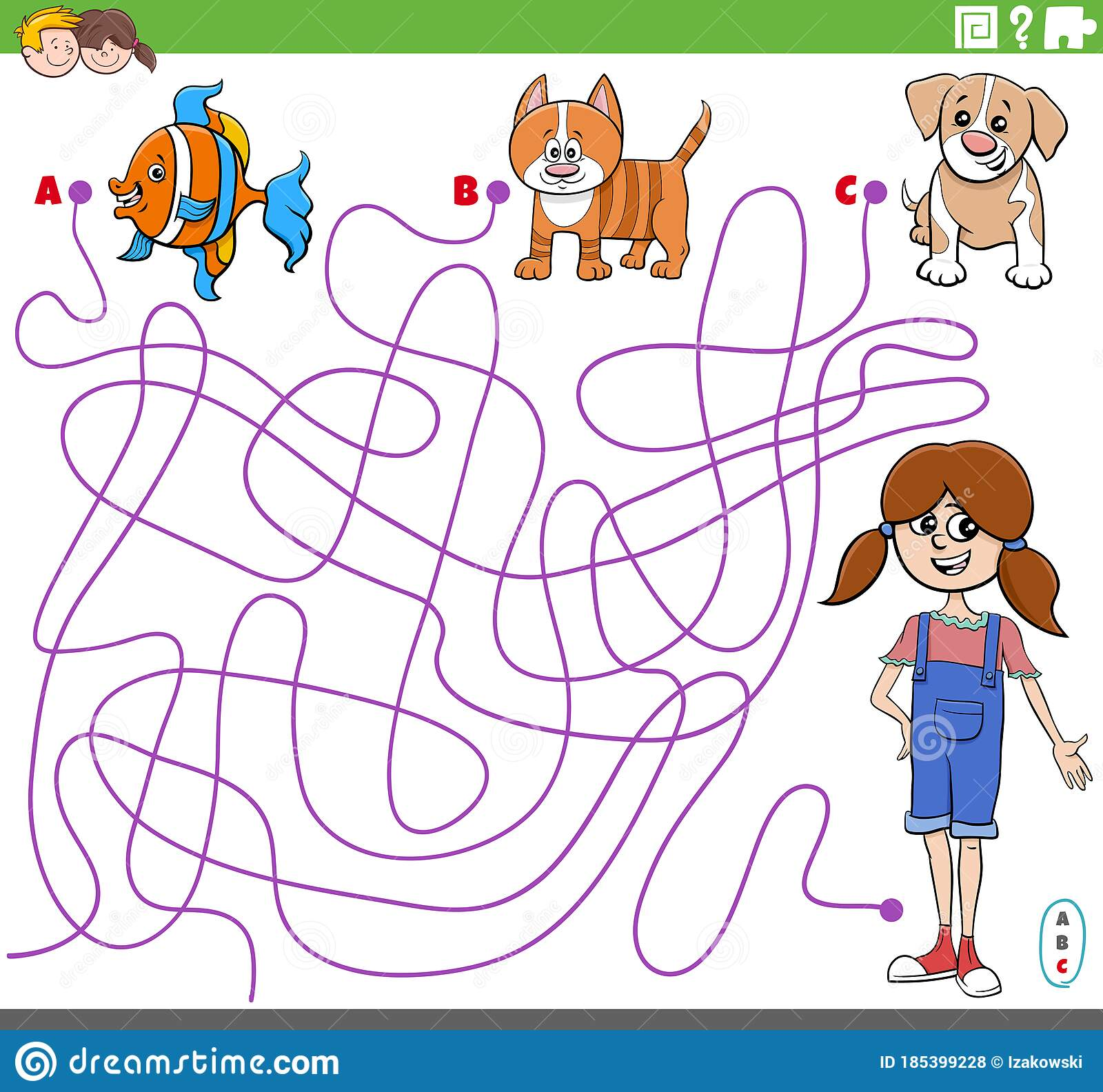 Educational Maze Game With Cartoon Girl And Pets Stock