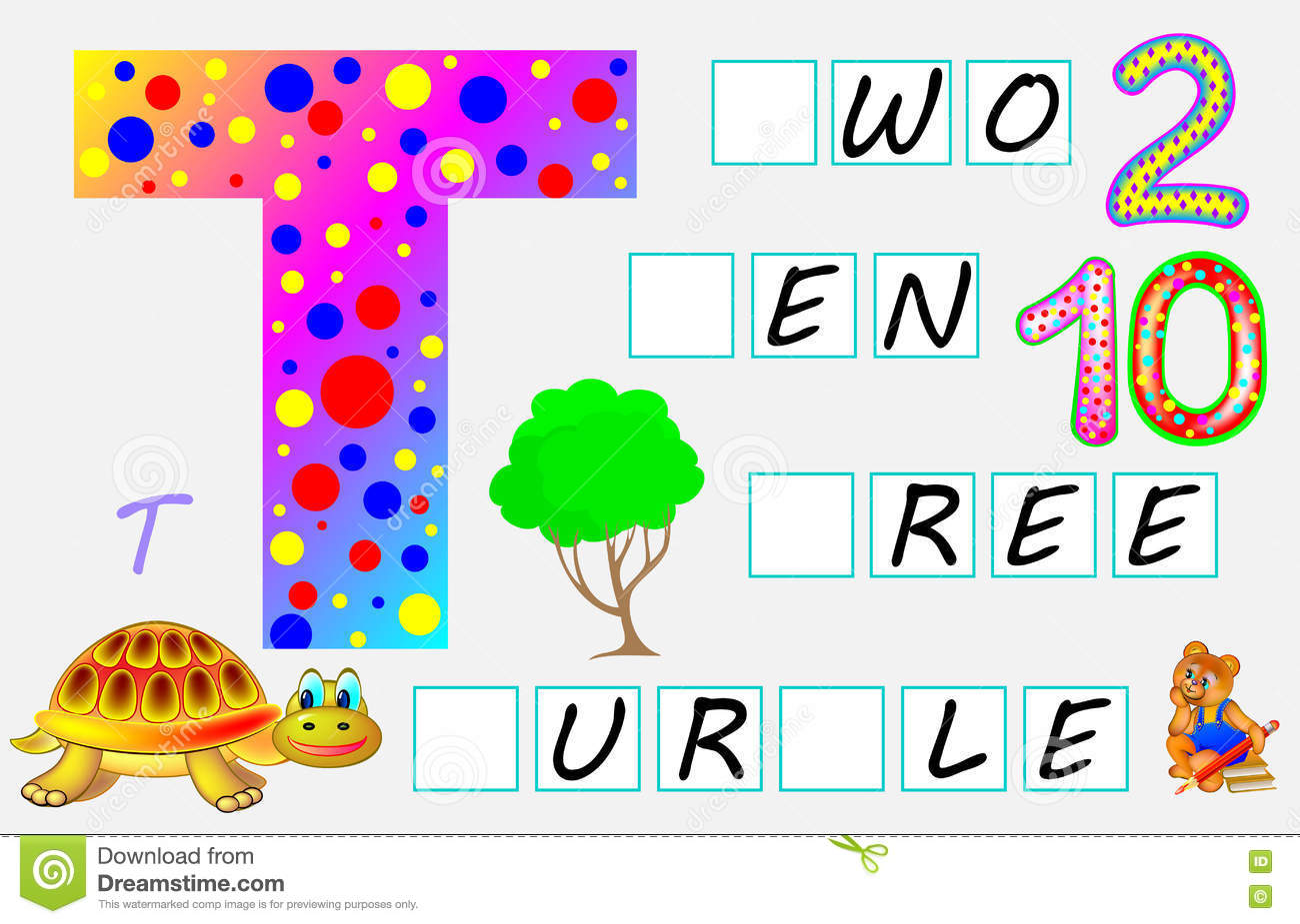 Educational Page For Children With Letter T For Study