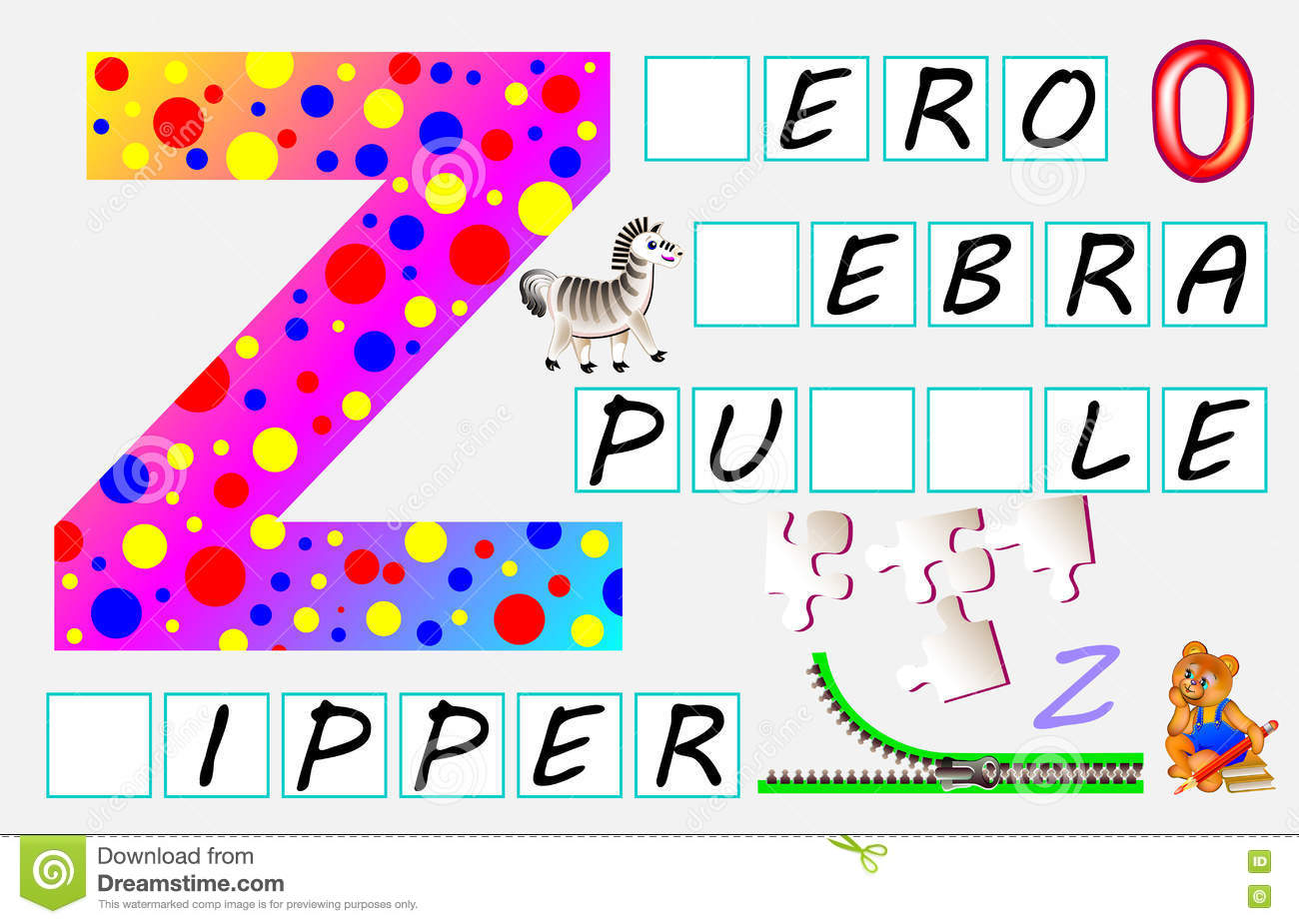 Educational Page For Children With Letter Z For Study