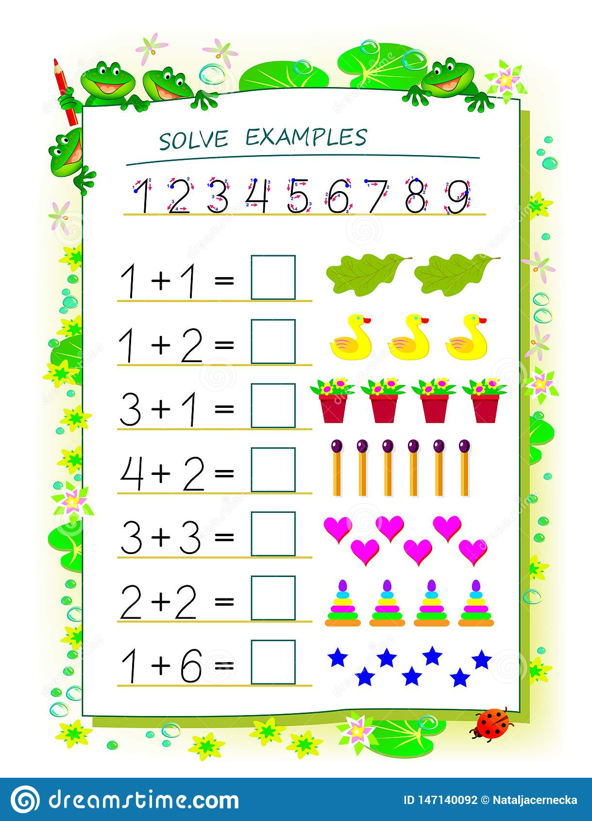 Educational Page For Children Math Book With Exercises On