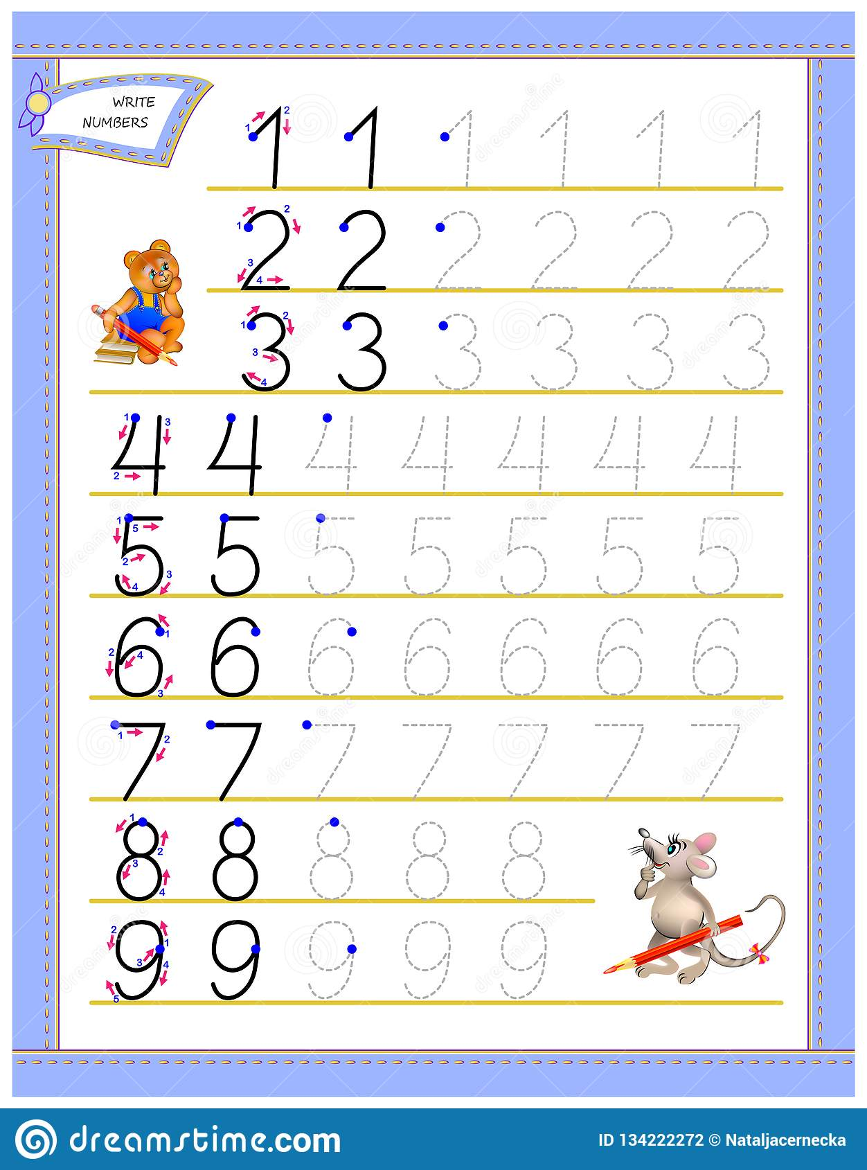 Educational Page For Children To Study Writing Numbers Worksheet For Kids Textbook Developing