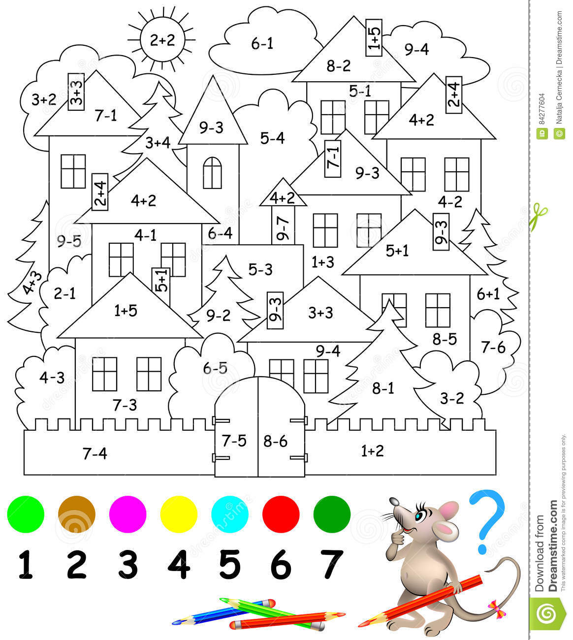 Educational Page With Exercises For Children On Addition