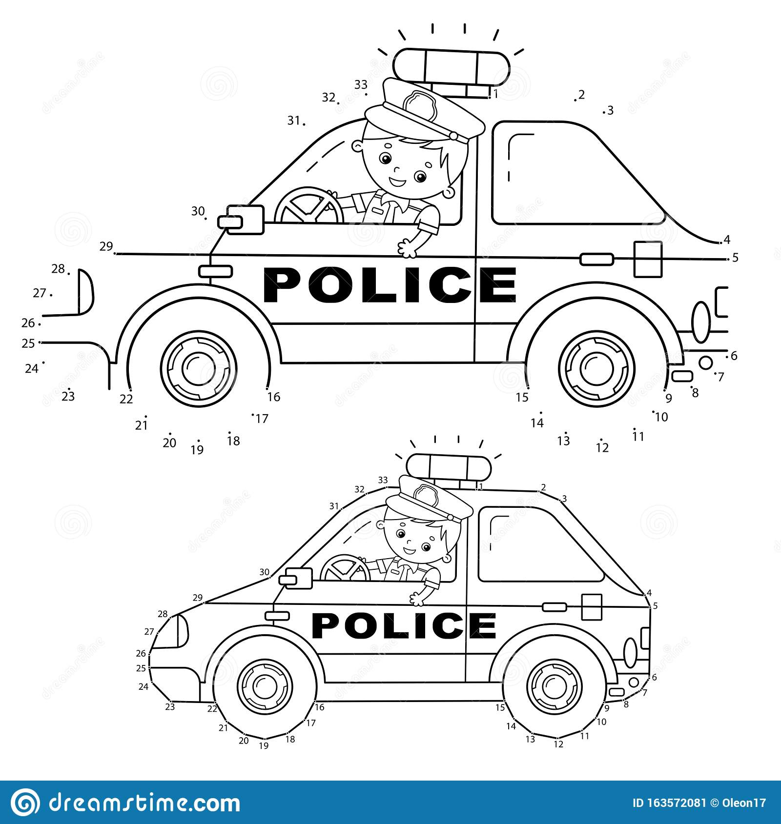Educational Puzzle Game For Kids Numbers Game Police Car