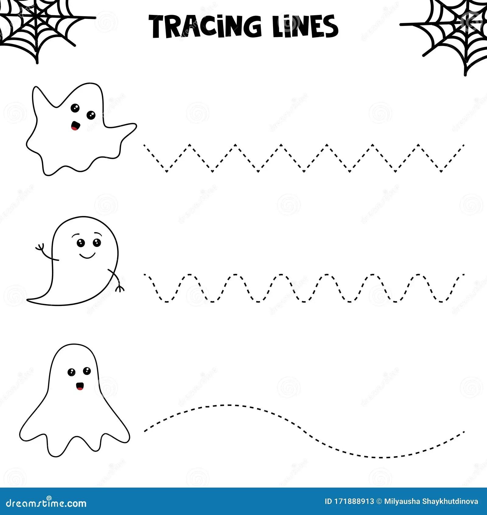Educational Worksheet For Kids Halloween Games Tracing
