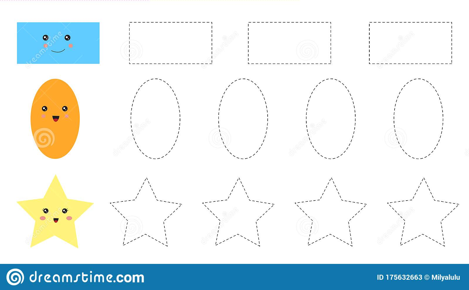Educational Worksheet For Kids Trace The Shapes Stock