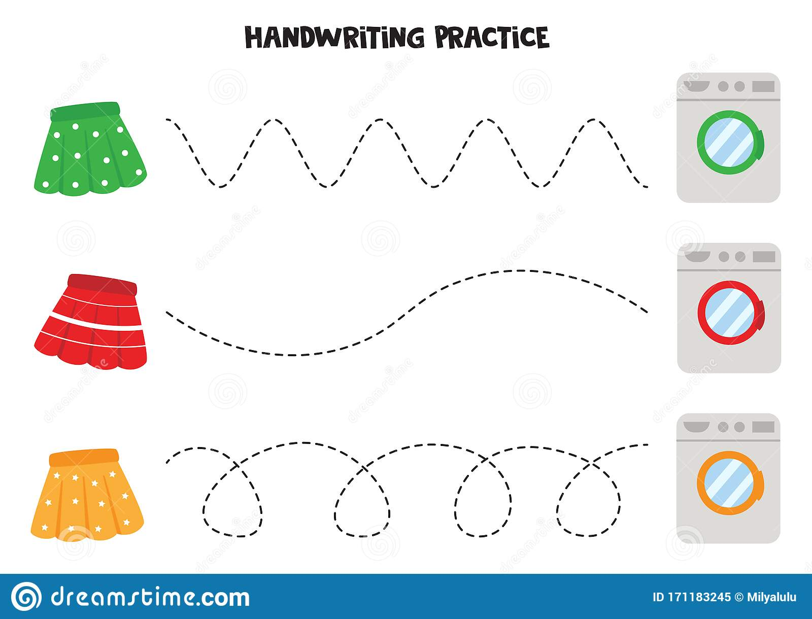 Educational Worksheet For Kids Tracing Lines With Skirts
