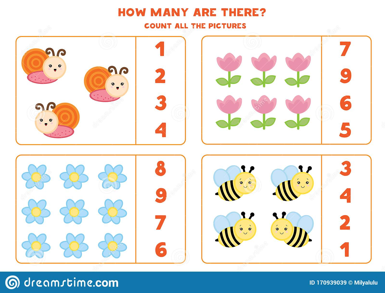 Educational Worksheet For Preschool Kids Count Insects