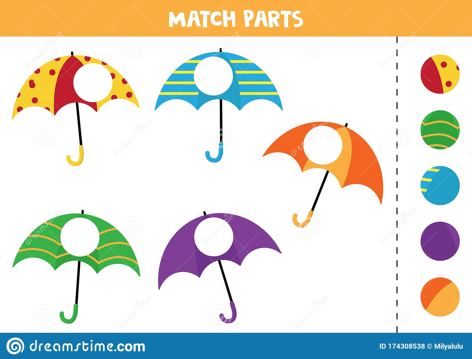 Educational Worksheet For Preschool Kids Match Parts Of