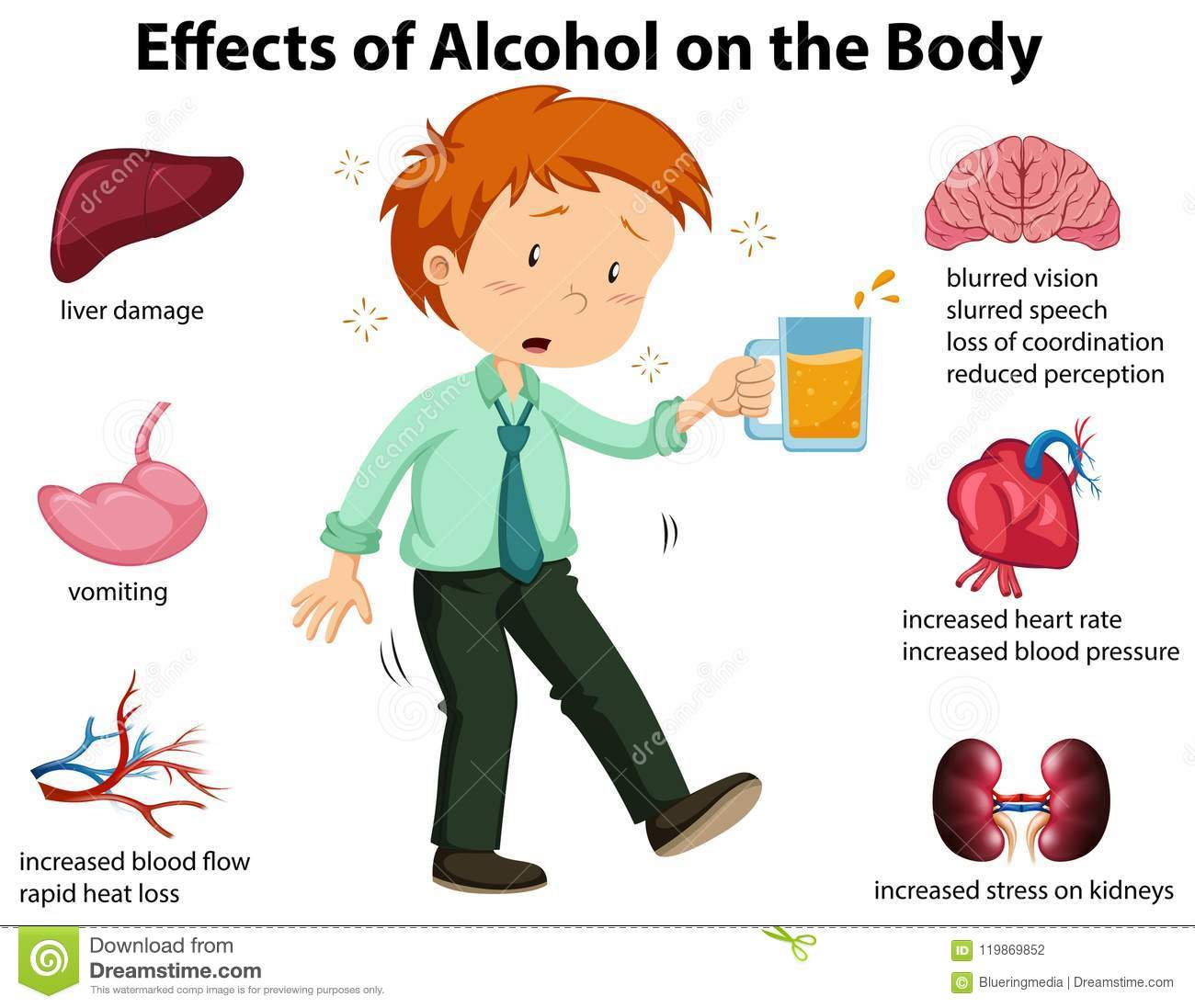 Effects Of Alcohol On The Body Stock Vector