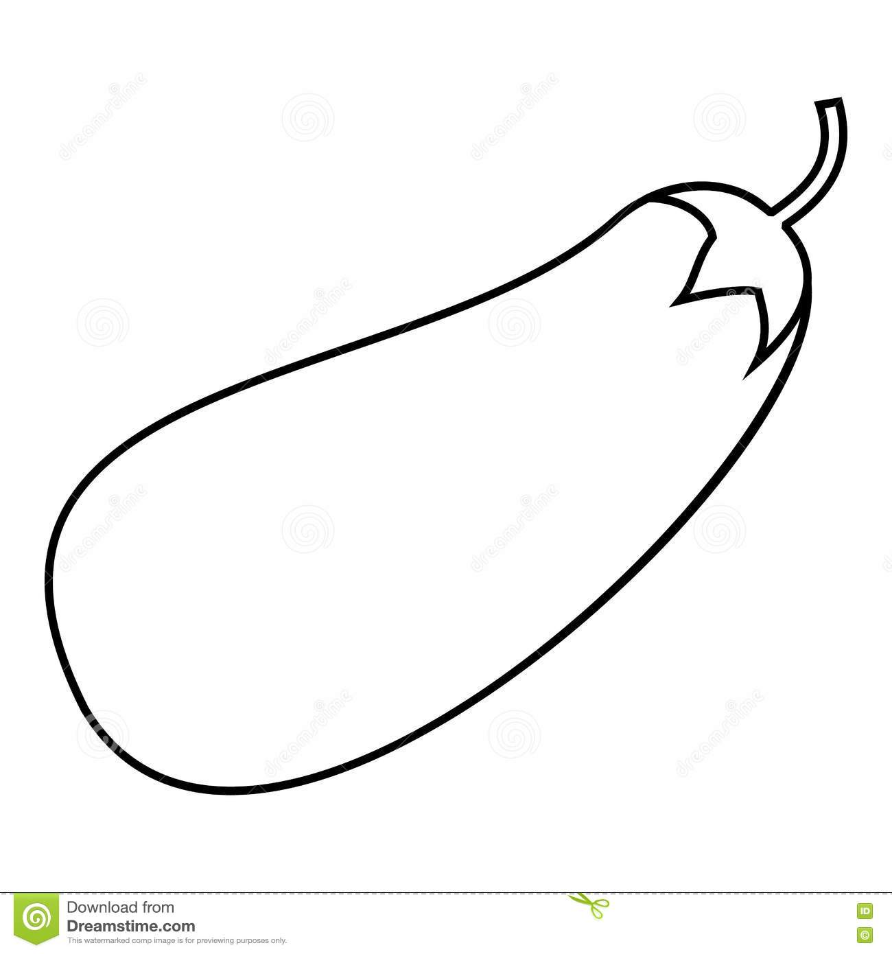 Eggplant Icon Outline Style Stock Vector