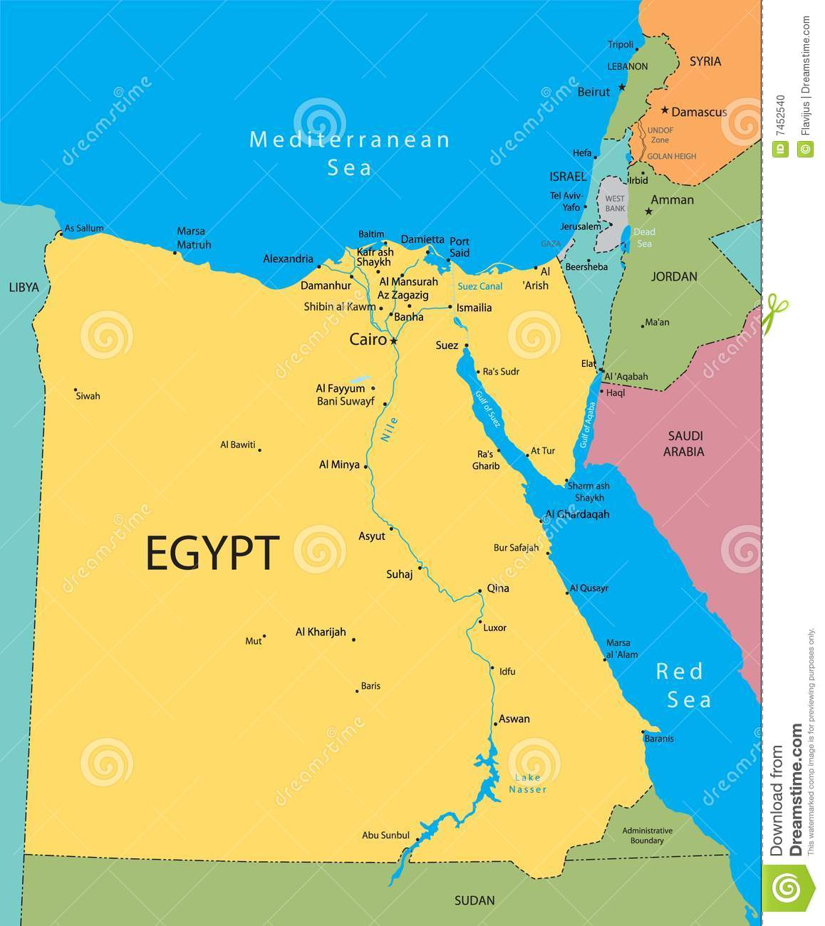 Egypt Vector Map Stock Vector Illustration Of Continent