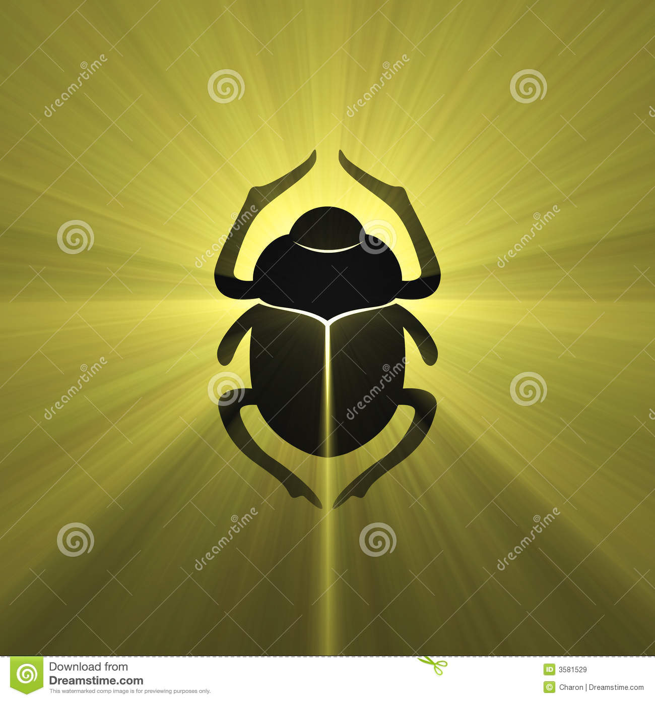 Egyptian Symbol Scarab Beetle Light Flare Stock