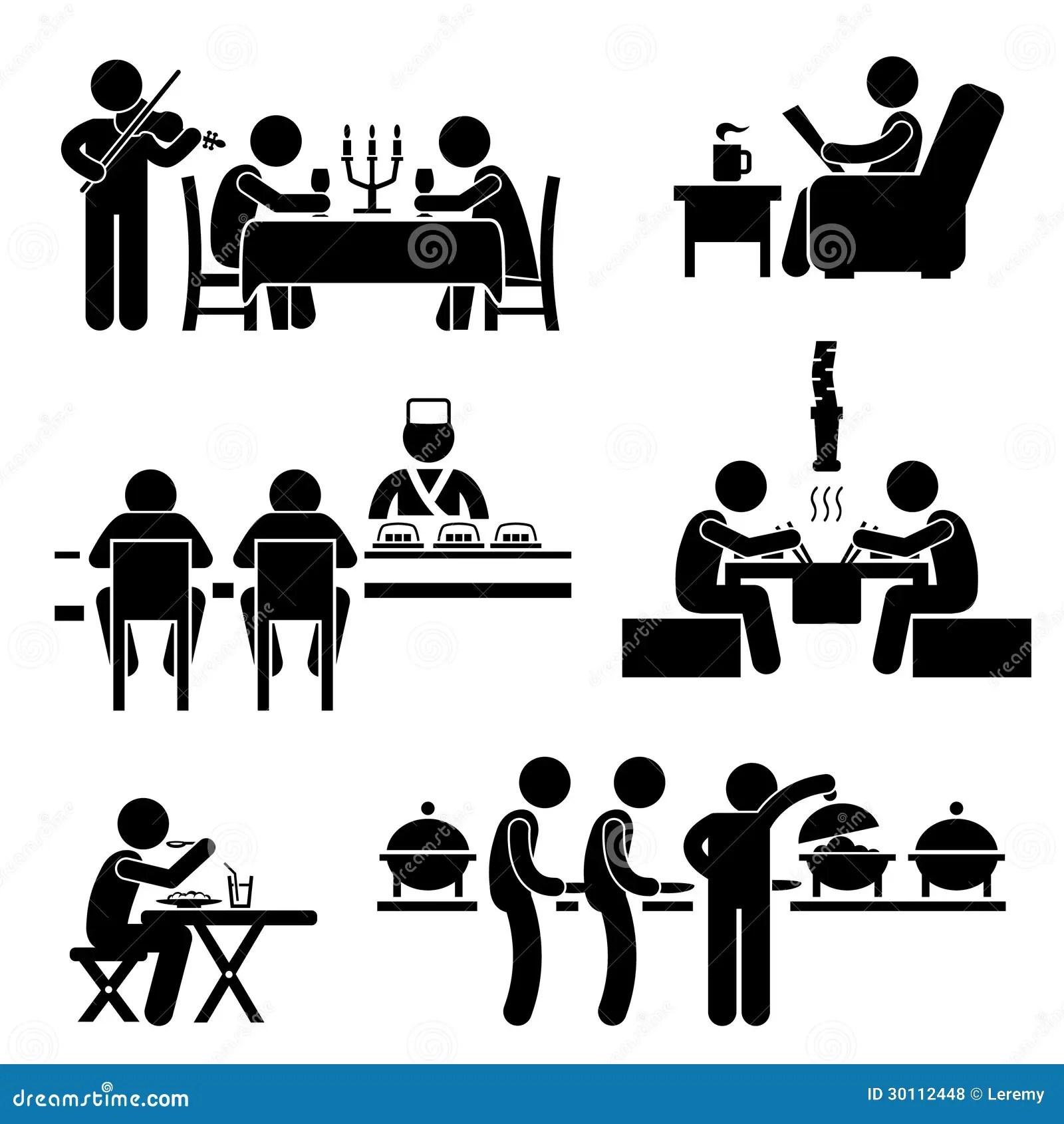 Restaurant Cafe Nahrungsmittelgetrank Piktogramm Vektor