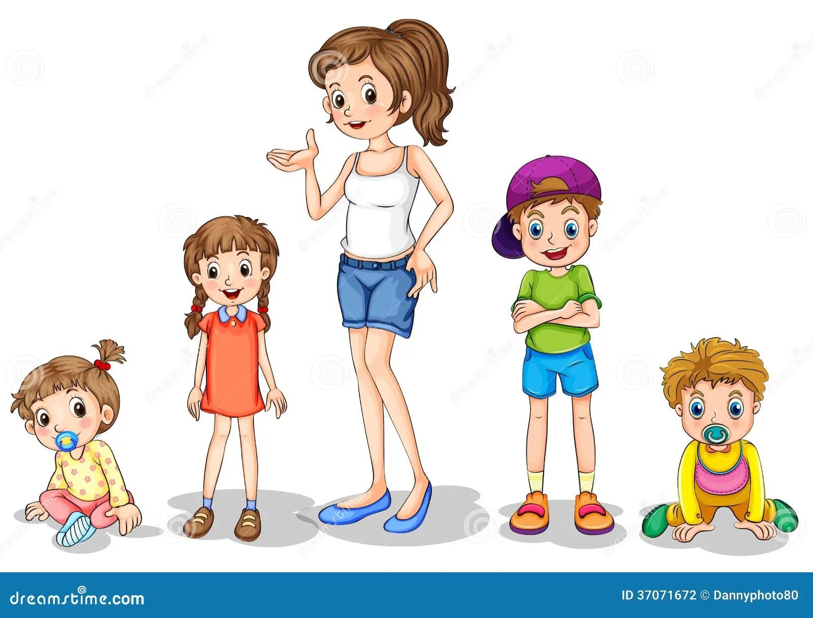 Eine Mutter Mit Ihren Vier Kindern Vektor Abbildung