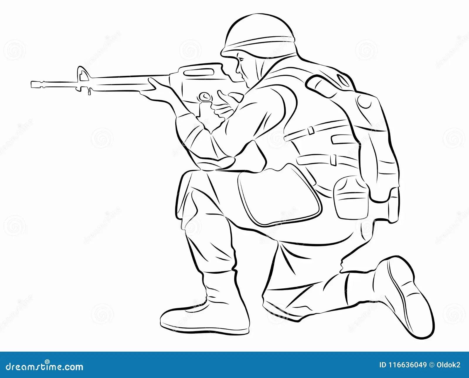 Ejemplo De Un Soldado Del Tiroteo Drenaje Del Vector