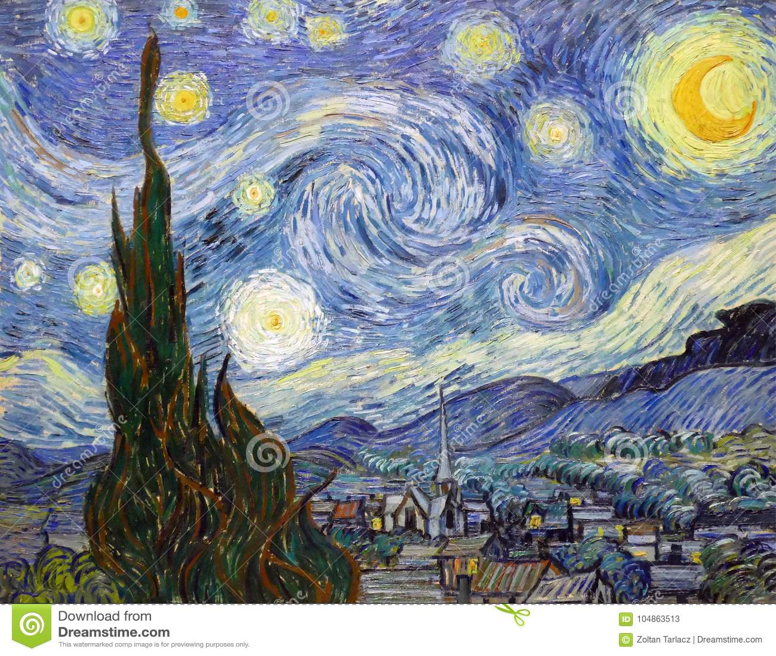 El De La Noche Estrellada Pintado Por Vincent Van Gogh Foto De Archivo Editorial