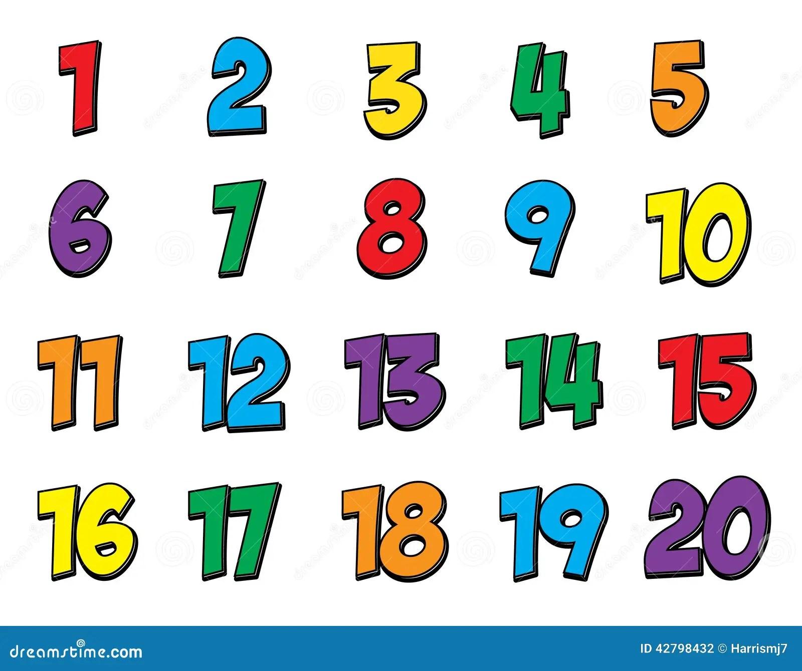 El Numero Colorido Fijo 1 20 Stock De Ilustracion