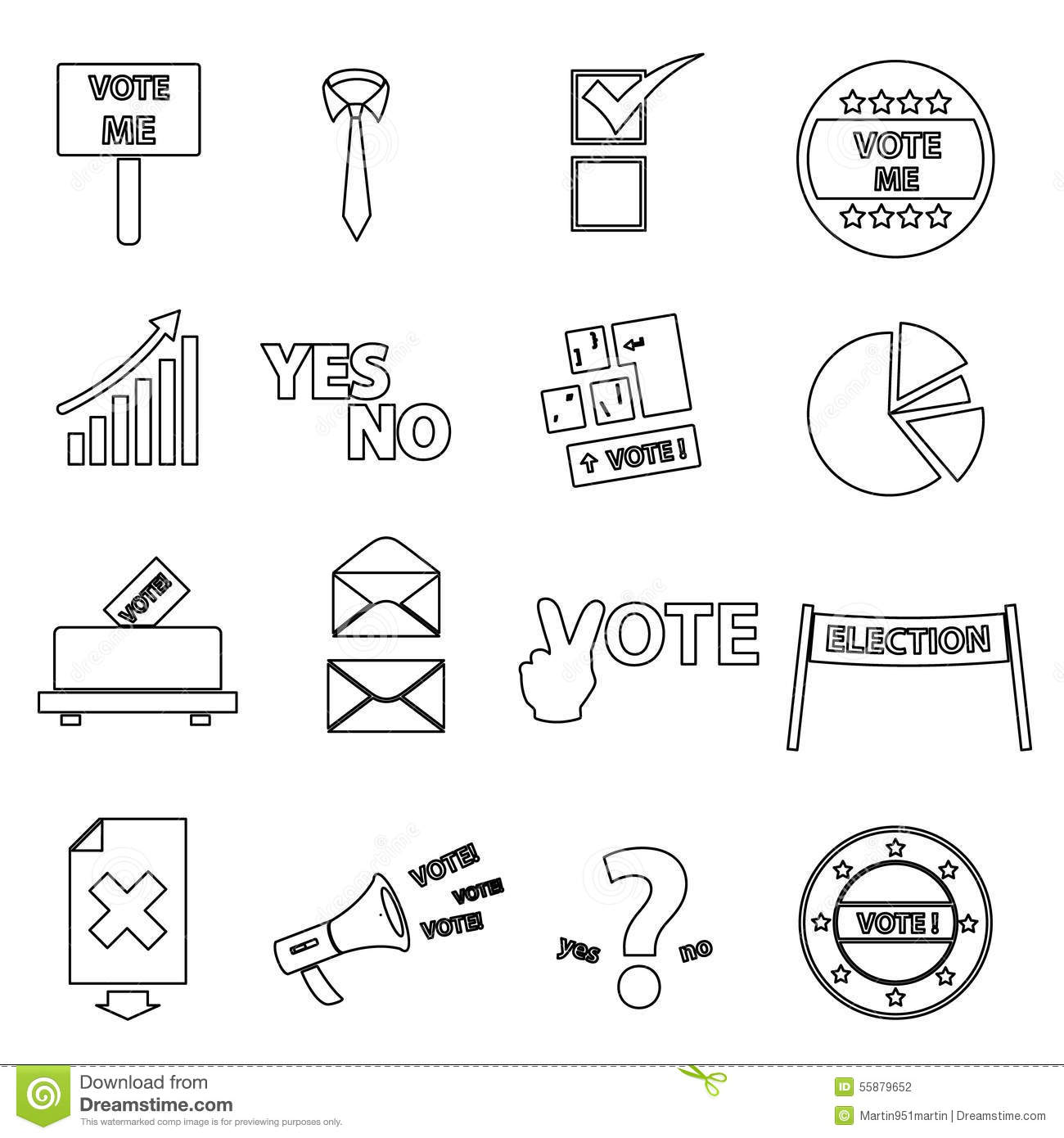 Simple Outline Icons Vector Illustration