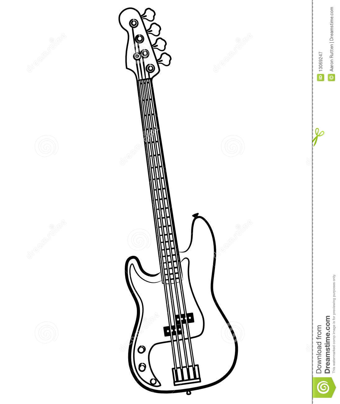 Electric Bass Guitar Line Art Vector Illustration Royalty