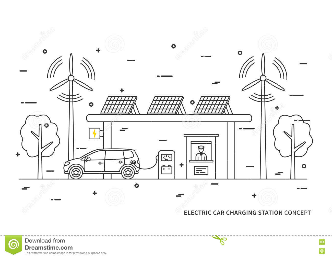 Electric Car Charging Station Vector Illustration Stock