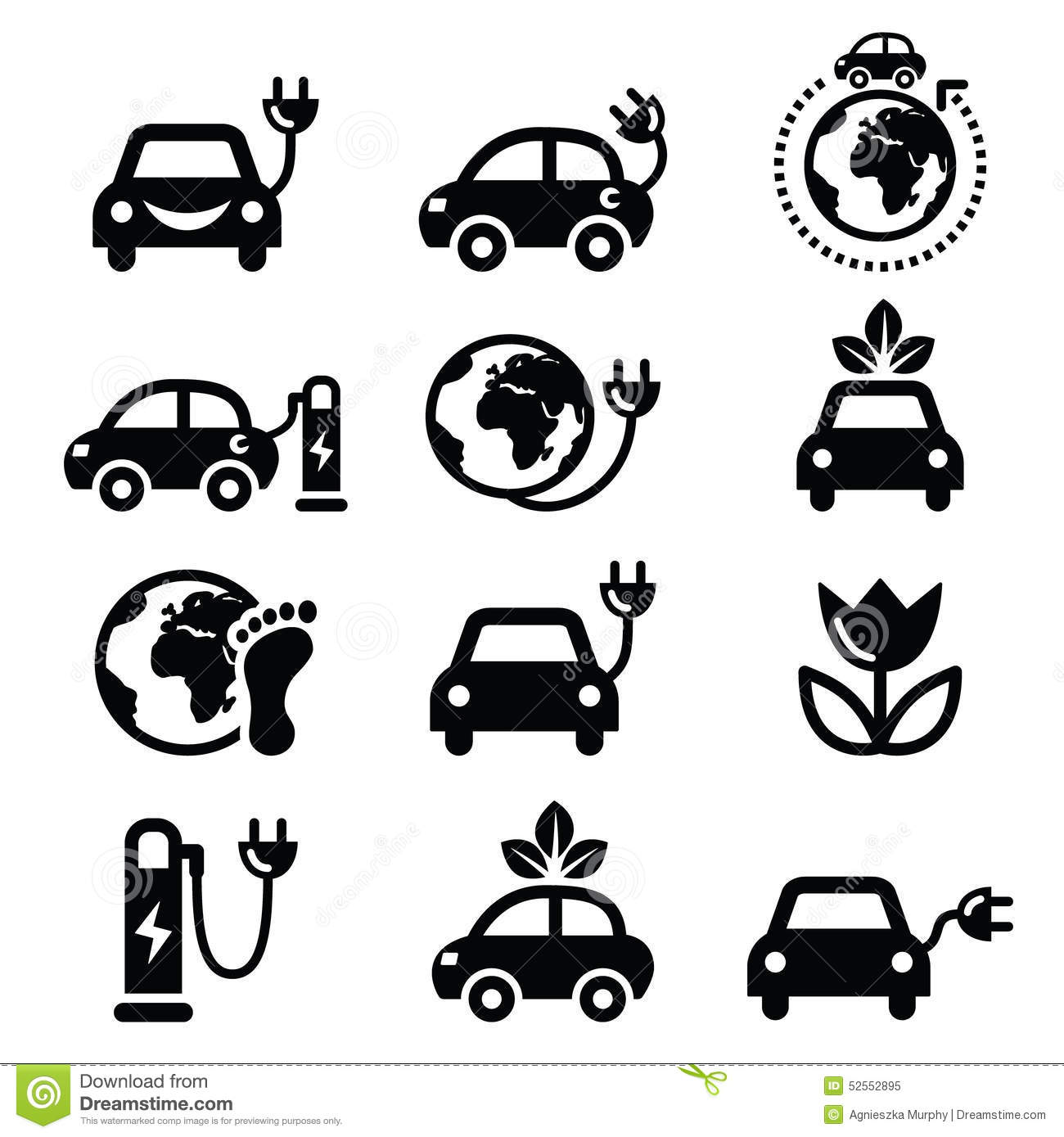 Electric Car Green Or Eco Transport Icons Set Stock