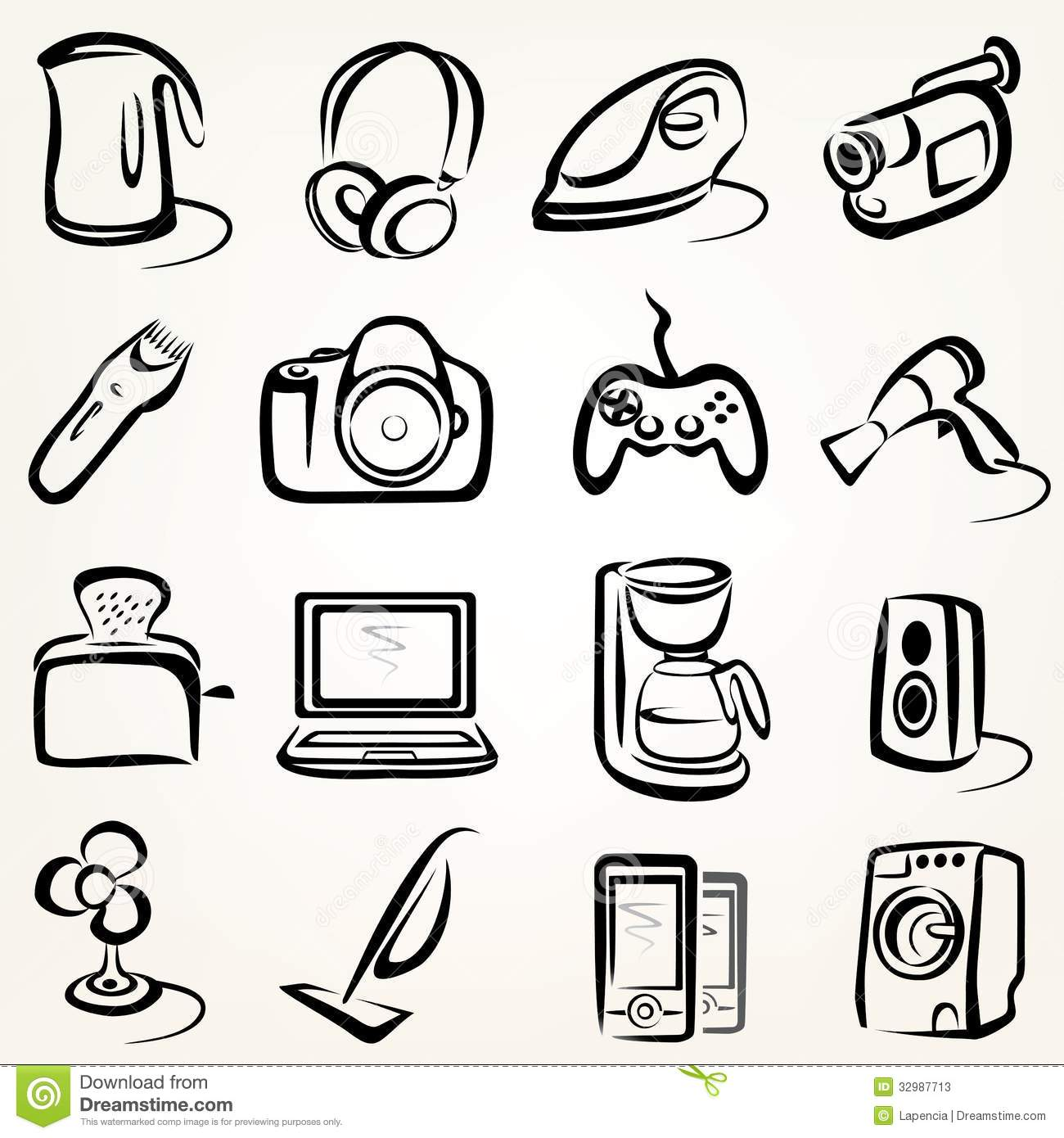 Electric Goods Icons Stock Photos