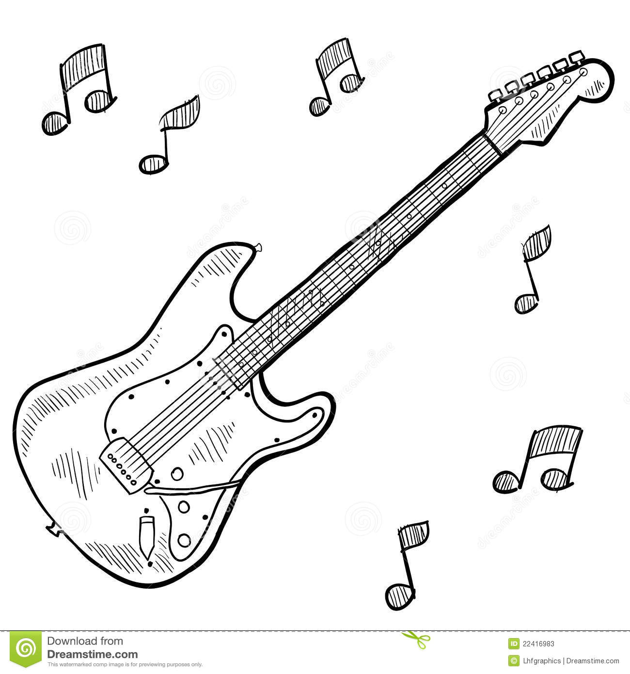 Electric Guitar Drawing Stock Vector Illustration Of