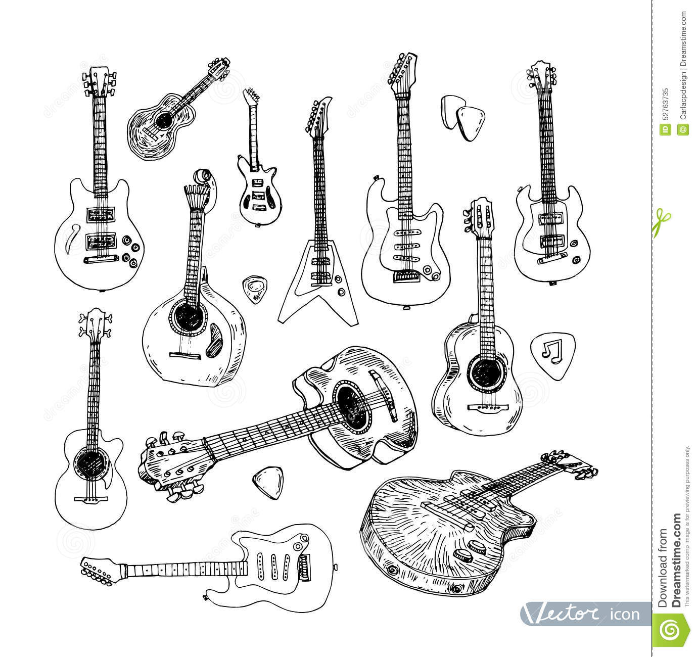 Electric Guitar Hand Drawn Doodle Vector Illustration