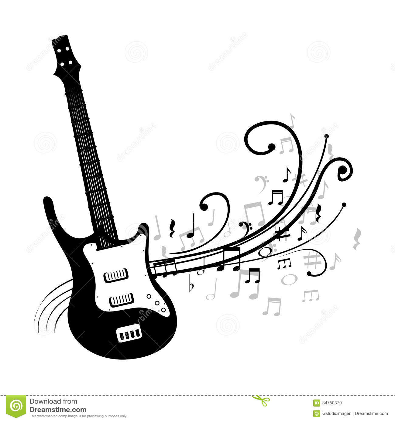 Guitar Electric Instrument Isolated Icon Cartoon Vector