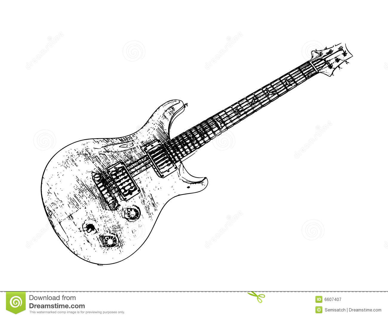 Electric Guitar Isolated Illustration Stock Illustration