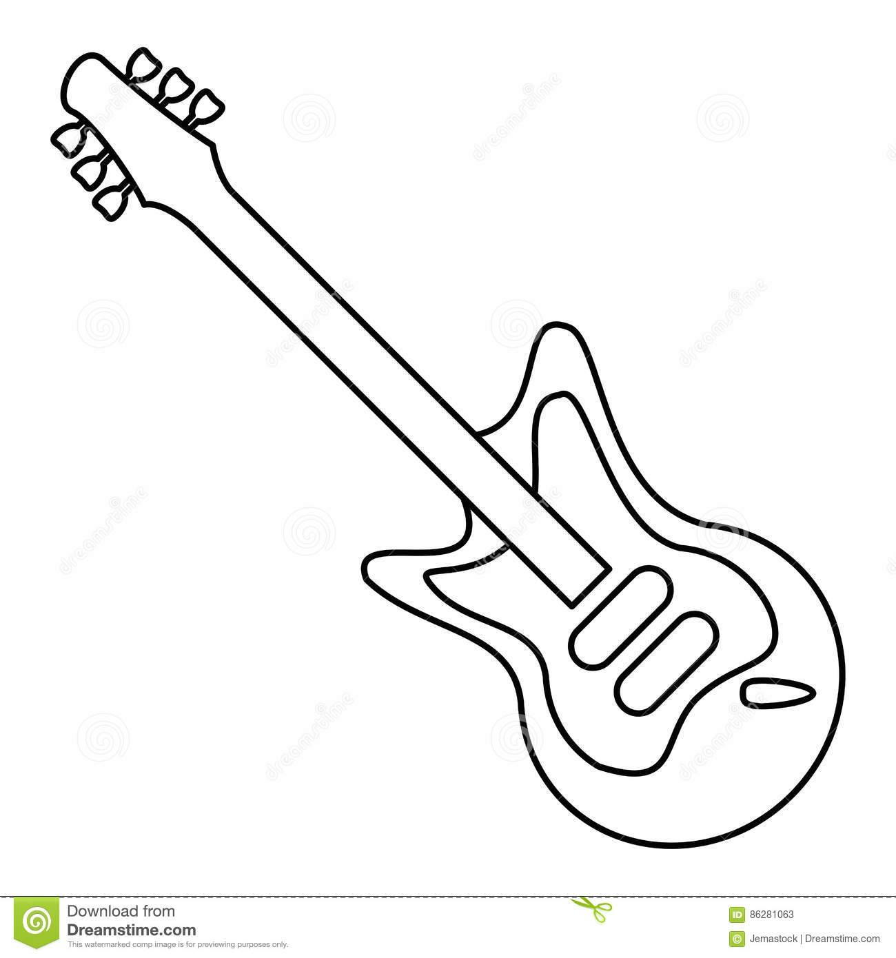 Electric Guitar Musical Instrument Thin Line Stock Vector