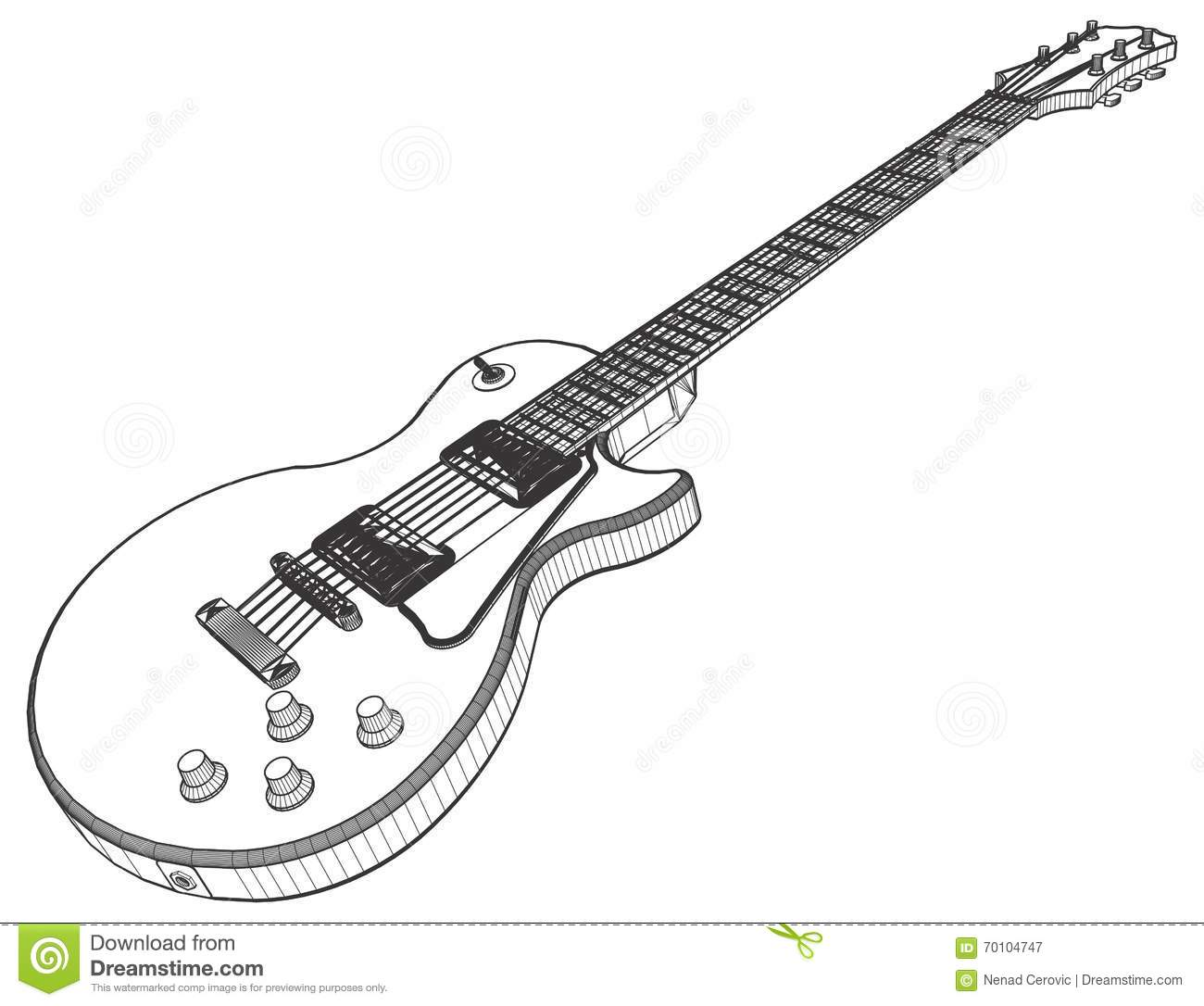 Electric Guitar Vector Stock Vector Illustration Of