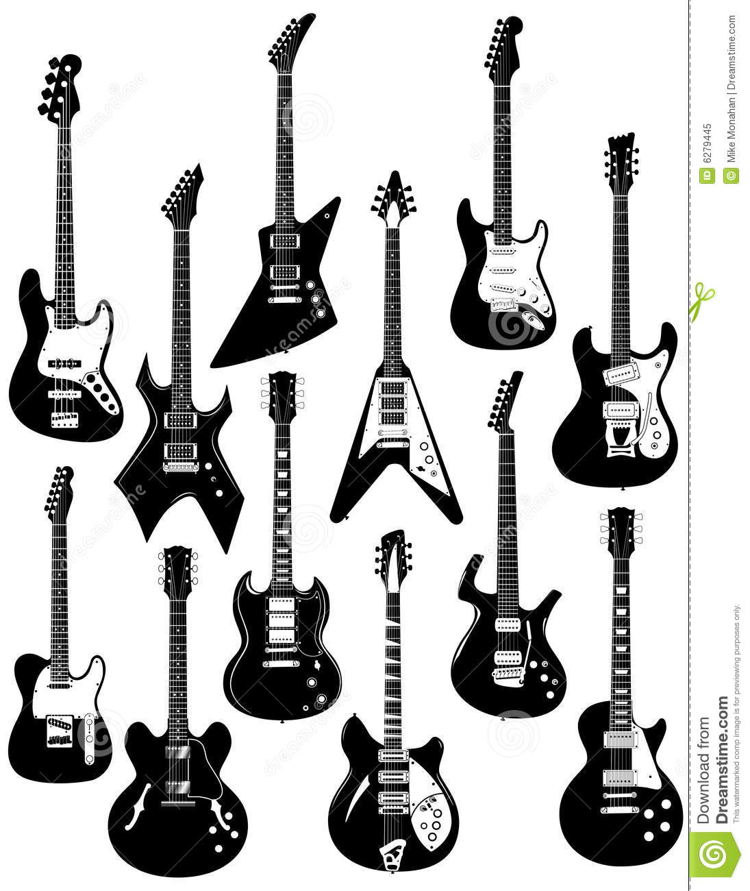 Electric Guitars On White Royalty Free Stock Photo
