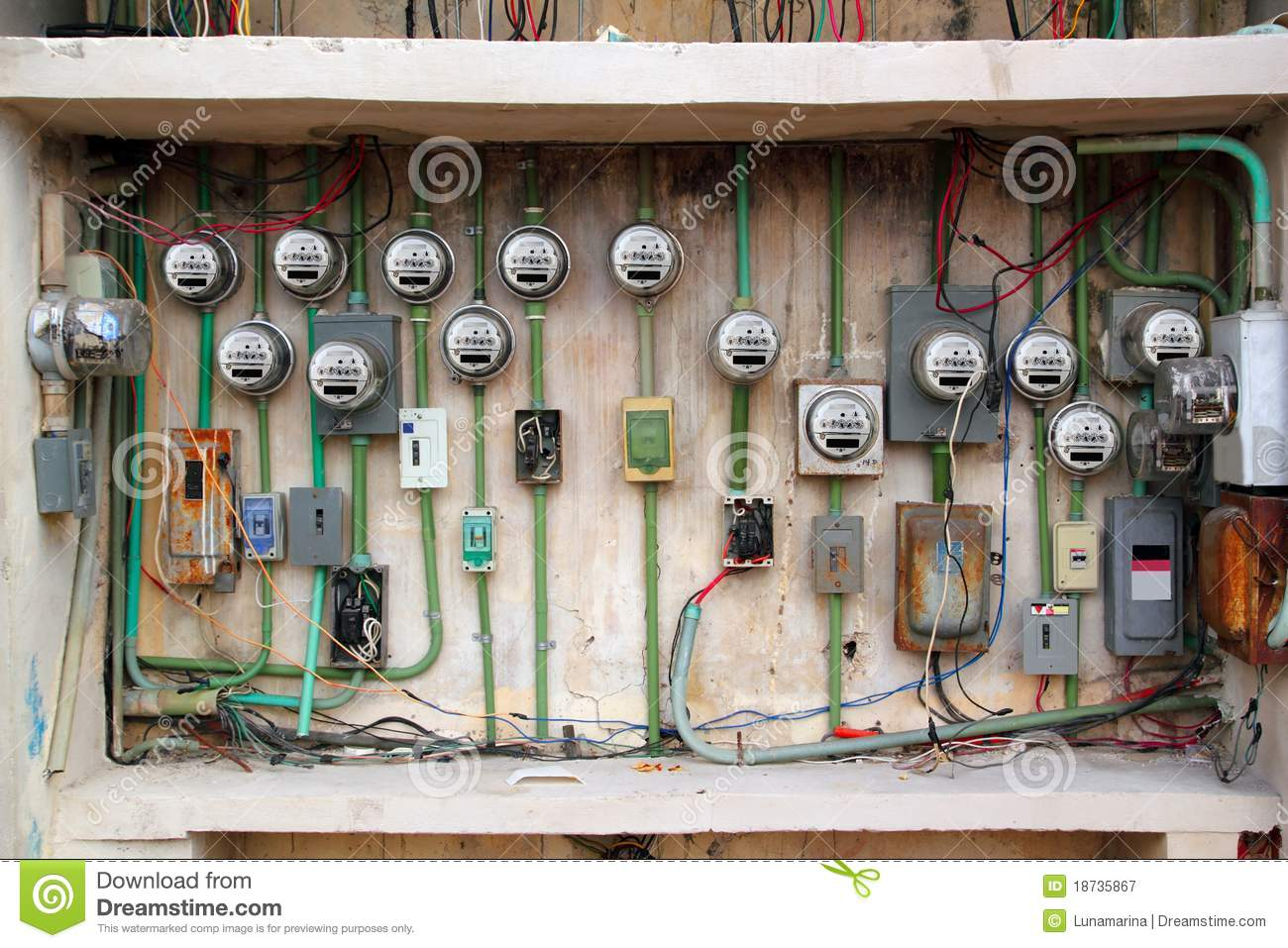 Electric Meter Messy Electrical Installation Royalty Free