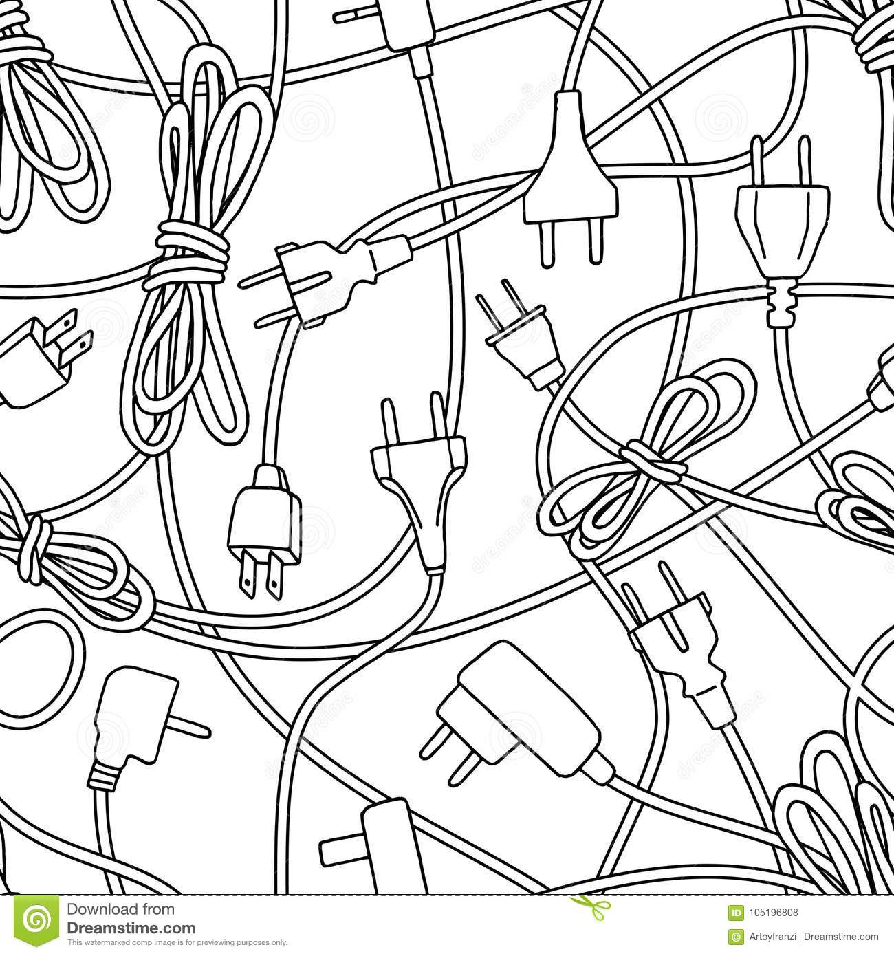 Electric Plugs And Power Cords Pattern Stock Vector