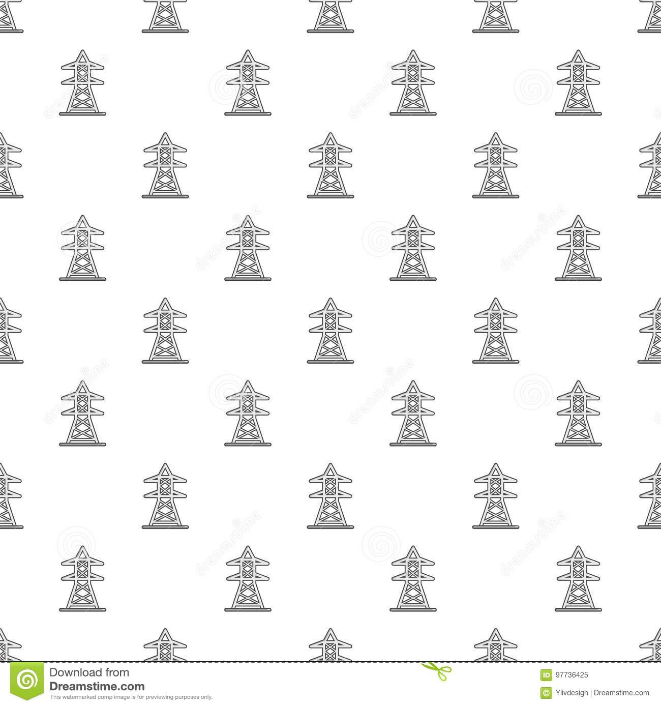 Electric Tower Pattern Seamless Stock Vector