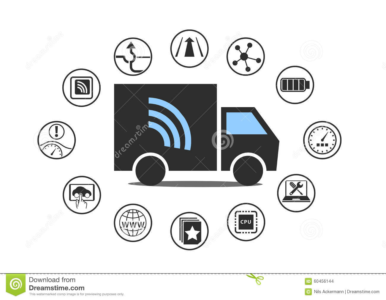 Electric Truck Symbol With Power Plug And Various Icons