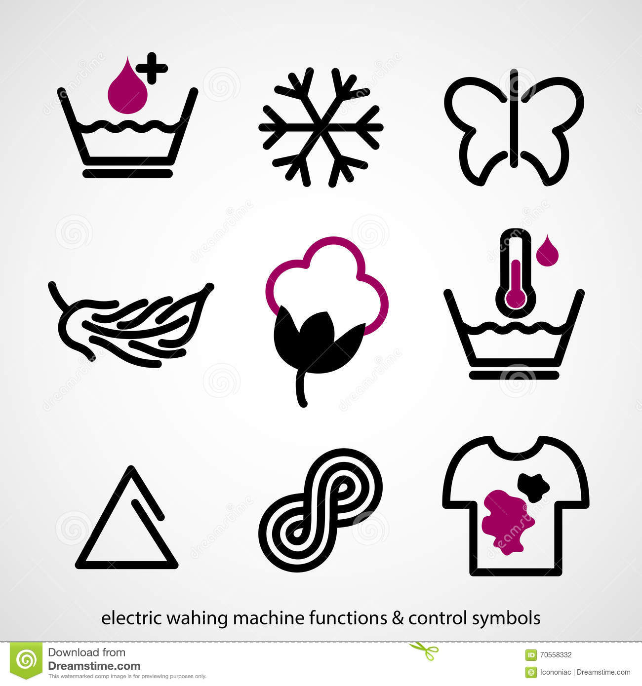 Electric Washing Machine Functions Amp Control Symbols Stock
