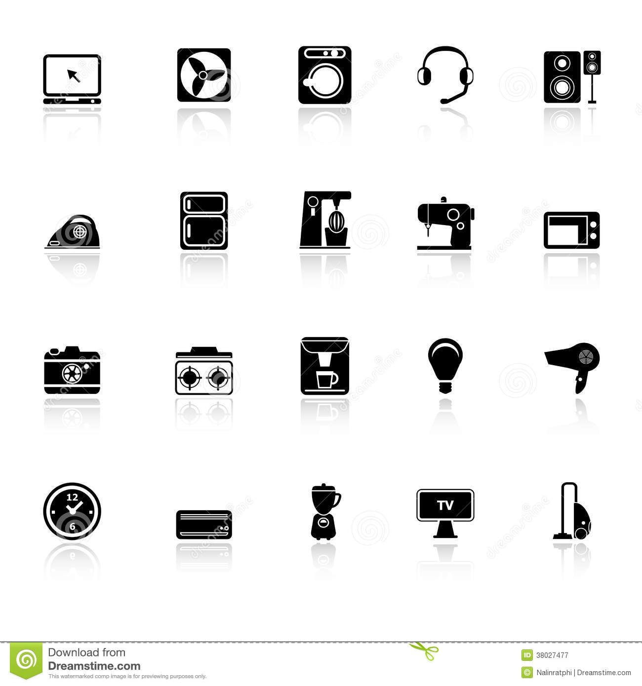 Electrical Machine Icons With Reflect On White Bac Royalty